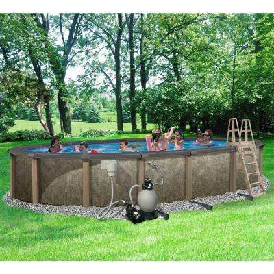 Riviera 15 ft. x 30 ft. Oval 54 in. Deep 8 in. Top Rail Metal Wall Swimming Pool Package