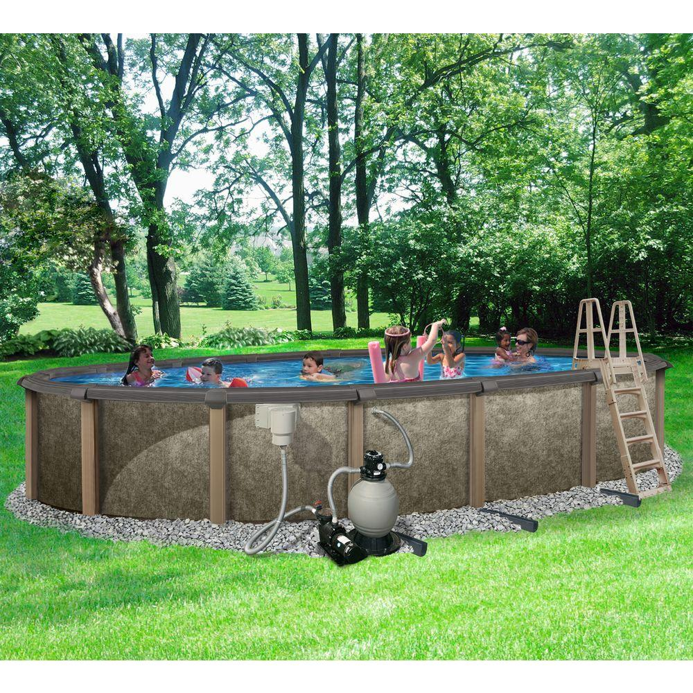 Blue Wave Riviera 18 Ft X 33 Oval 54 In Deep Metal Wall Above Ground Pool Package With 8 Top Rail Nb3628 The Home Depot