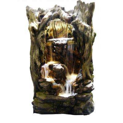 Rainforest Waterfall Tree Fountain with LED Lights