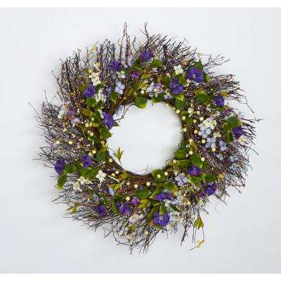 24 in. Wildflower Wreath with Twigs and Berries
