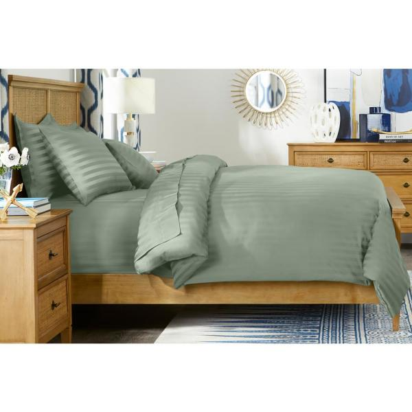 500 Thread Count Egyptian Cotton Sateen 3-Piece Full/Queen Duvet Cover Set in Willow Green Damask