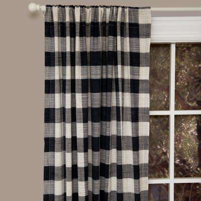 Semi-Opaque Buffalo Check 84 in. L Cotton Valance in Navy