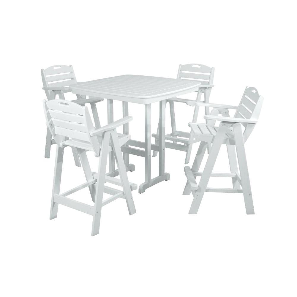 POLYWOOD Nautical White 5-Piece Patio Bar Set