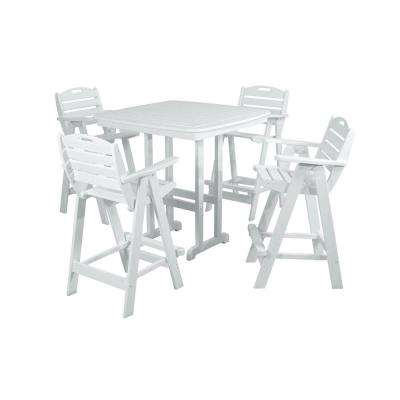 Nautical White 5-Piece Plastic Outdoor Patio Bar Set