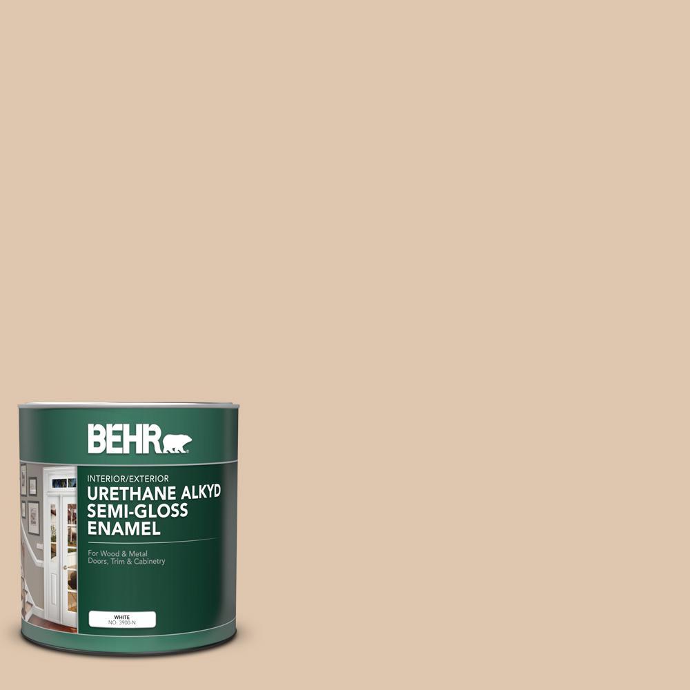 Behr 1 Qt N260 2 Almond Latte Semi Gloss Enamel Urethane Alkyd Interior Exterior Paint 390004 The Home Depot