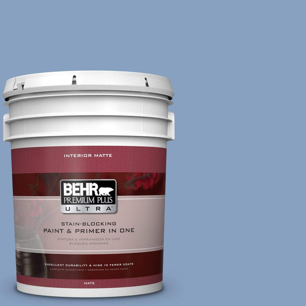 BEHR Premium Plus Ultra 5 gal. #PPU14-7 Hawaiian Sky Flat/Matte Interior Paint
