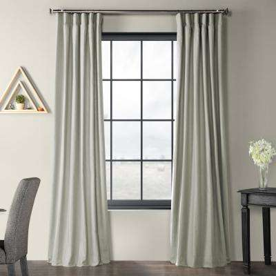 Shark Grey Solid Country Cotton Linen Weave Curtain - 50 in. W x 96 in. L