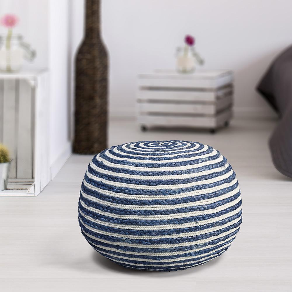 LR Resources Double Jute Cotton Blue and White Indoor Ott...