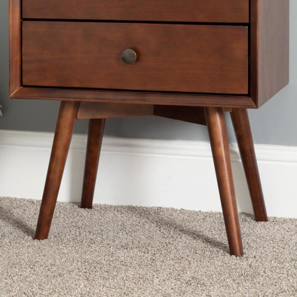 Walker Edison Furniture Company Mid Century Modern Contemporary Transitional 2 Drawer Solid Wood Walnut Night Stand Hdr25mc2dwt The Home Depot