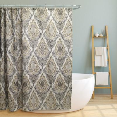 Tara 70 in. Grey Floral Damask Design Canvas Shower Curtain
