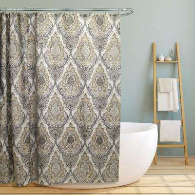 Grey Floral Damask Design Canvas Shower Curtain