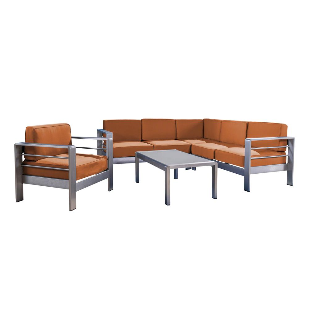 noble house cape coral silver 5 piece aluminum patio sectional seating set with canvas rust. Black Bedroom Furniture Sets. Home Design Ideas