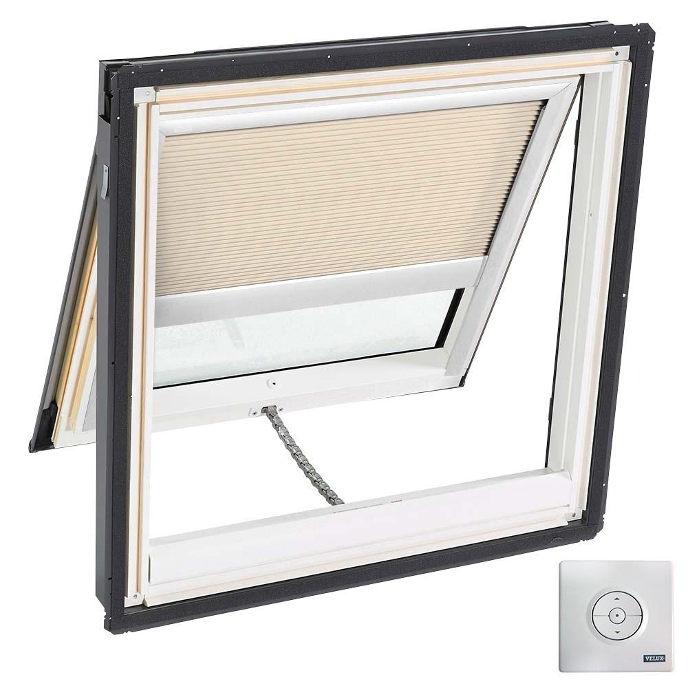 VELUX 30.06 in. x 30 in. Solar Powered Venting Deck-Mount Skylight, Laminated Low-E3 Glass, Classic Sand Light Filtering Blind