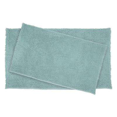 Plush Shag Chenille Aqua 21 in. x 34 in. and 17 in. x 24 in. 2-Piece Bath Rug Set