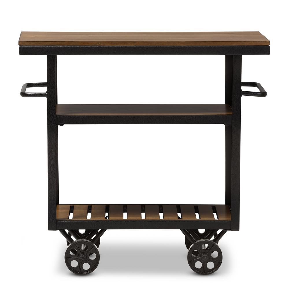 Kennedy Vintage Industrial Dark Brown Wood Finished Cart