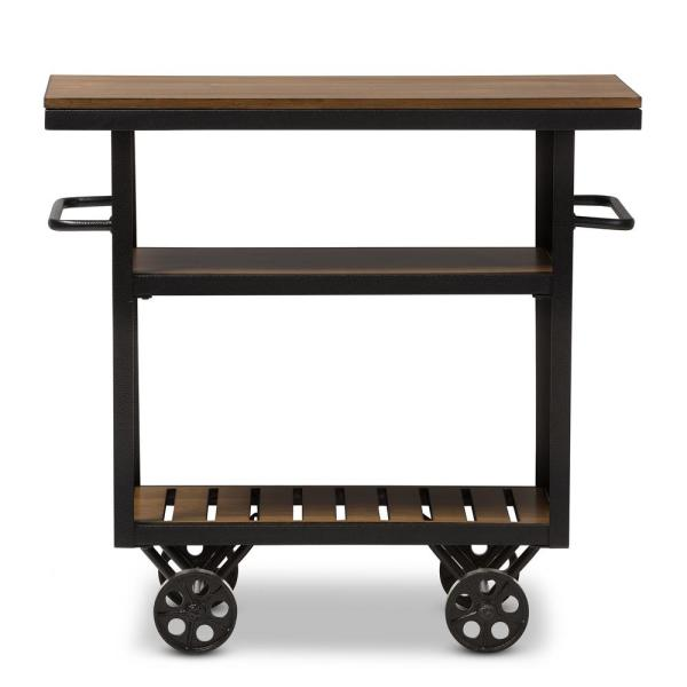 Baxton Studio Kennedy Vintage Industrial Dark Brown Wood Finished Cart