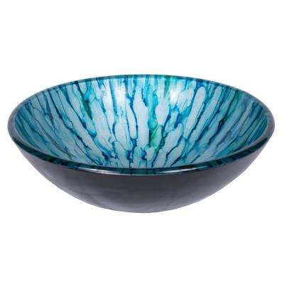 Magnolia Glass Vessel Sink in Blue and Green