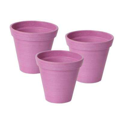 Valencia 4.25 in. Round Banded Spun Pink Polystone Planter (3-Pack)