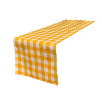 14 in. x 108 in. White and Dark Yellow Polyester Gingham Checkered Table Runner