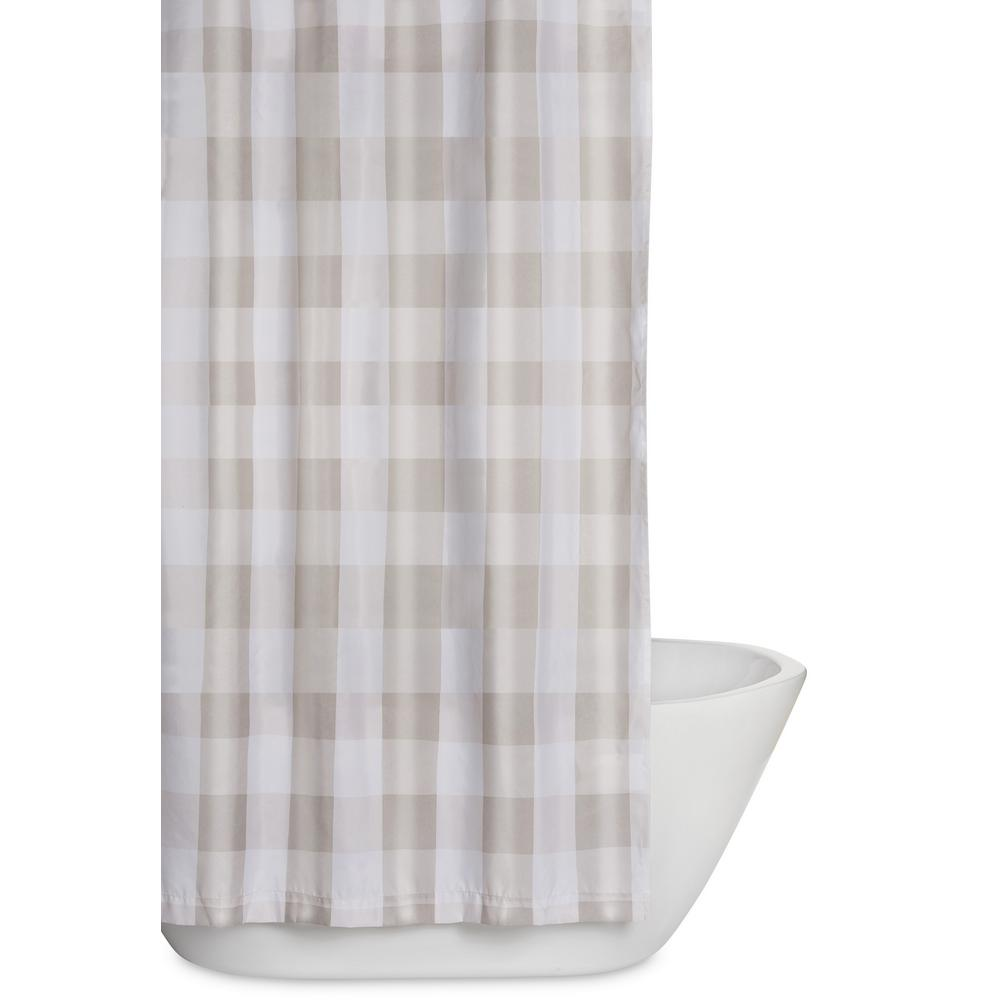 Truly Soft Everyday Buffalo Plaid 72 In. Khaki And White Shower Curtain