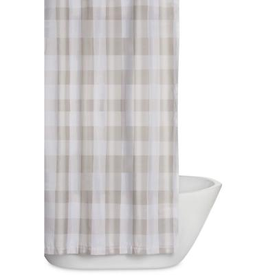 Everyday Buffalo Plaid 72 in. Khaki and White Shower Curtain