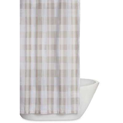 Everyday Buffalo Plaid 72 In Khaki And White Shower Curtain