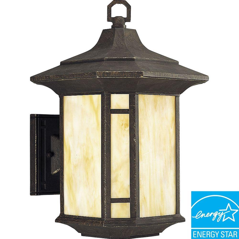 Progress Lighting Arts and Crafts Collection Weathered Bronze 1-light Wall Lantern-DISCONTINUED