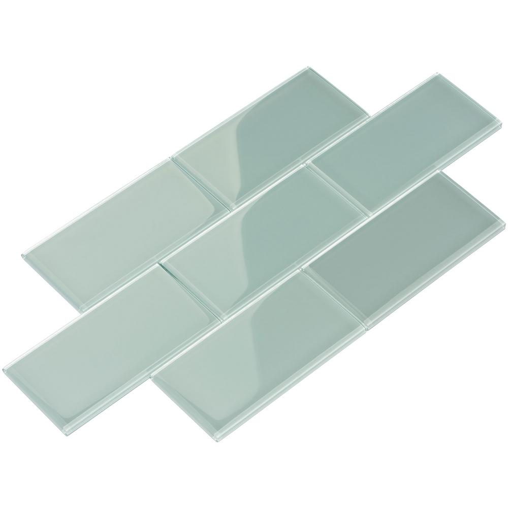 Giorbello Baby Blue Subway 3 In X 6 In X 8 Mm Glass Backsplash And