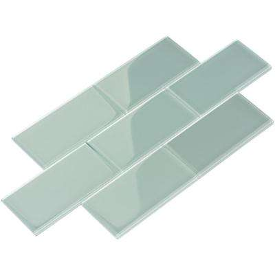 Baby Blue Subway 3 in. x 6 in. x 8 mm Glass Backsplash and Wall Tile (5.5 sq. ft./case)