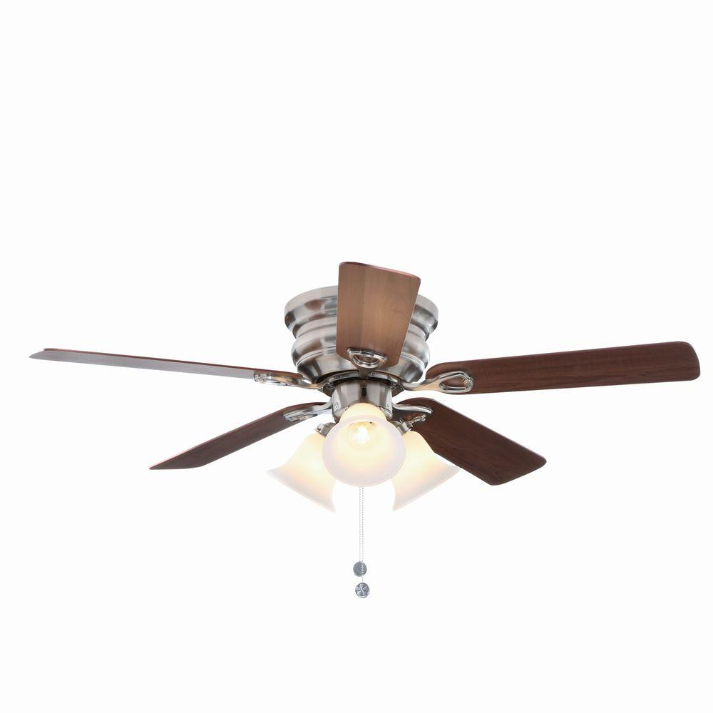 Indoor Brushed Nickel Ceiling Fan with Light Kit - Flush - Ceiling Fans - Lighting - The Home Depot
