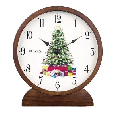 Holiday Sounds Hardwood Case Table Clock