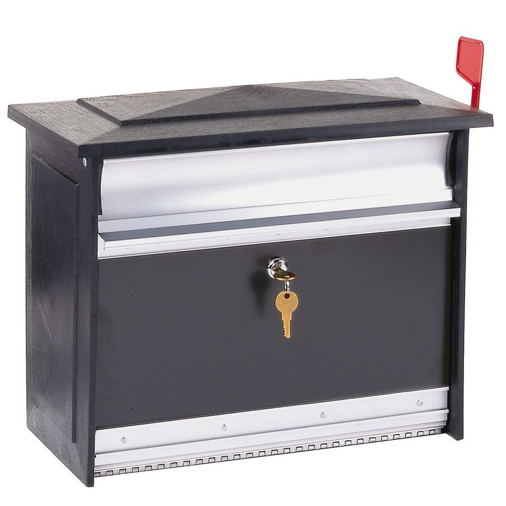 gibraltar mailboxes mailsafe black wall-mount locking mailbox