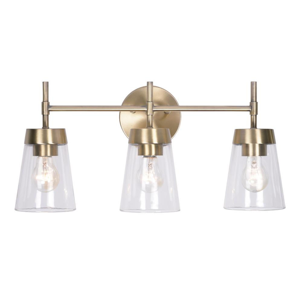 Kenroy Home Delgado 3-Light Antique Brass Bathroom Vanity Light - Kenroy Home Delgado 3-Light Antique Brass Bathroom Vanity Light