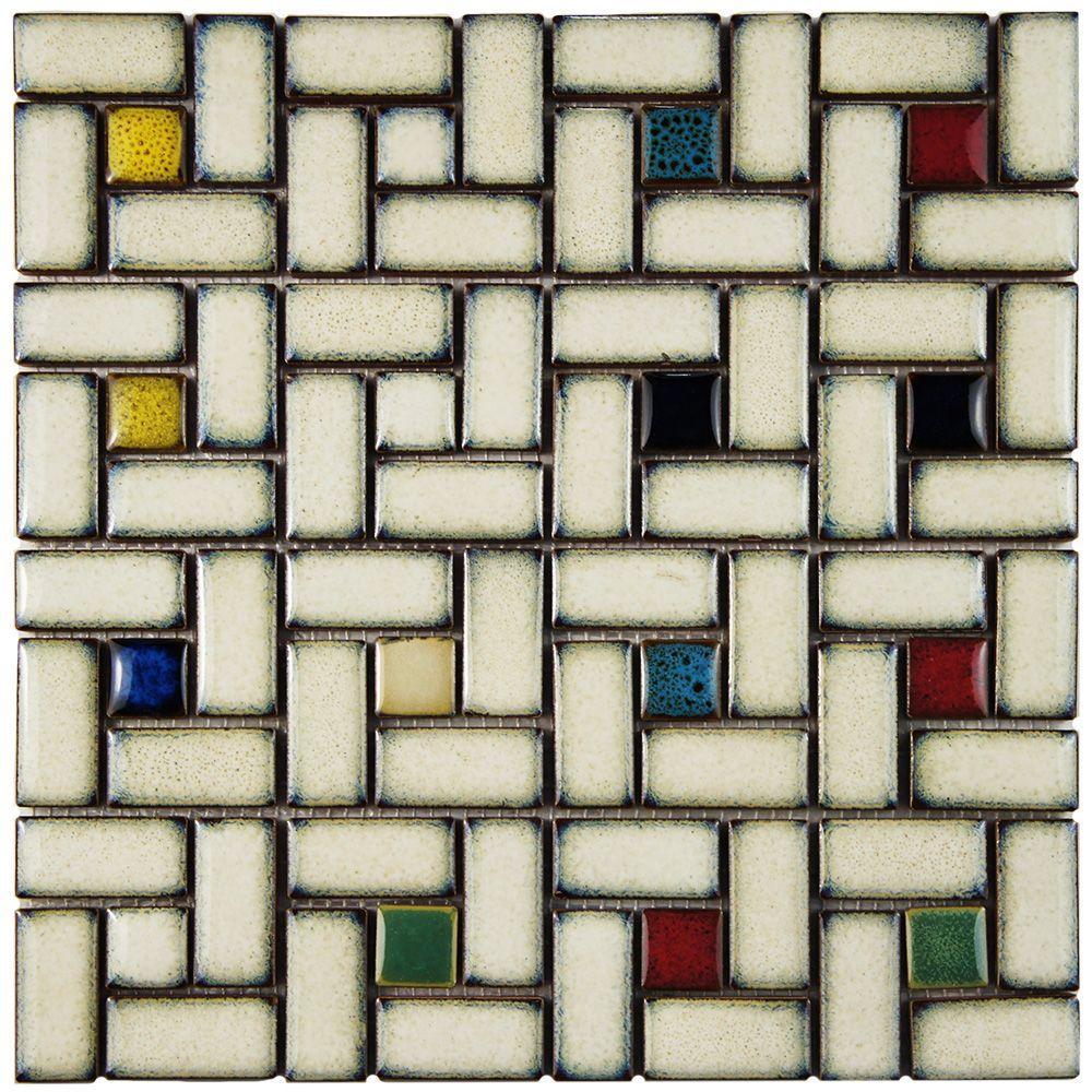 Merola Tile Essence Spiral Cascade 12 in. x 12 in. x 9 mm Porcelain Mosaic Tile