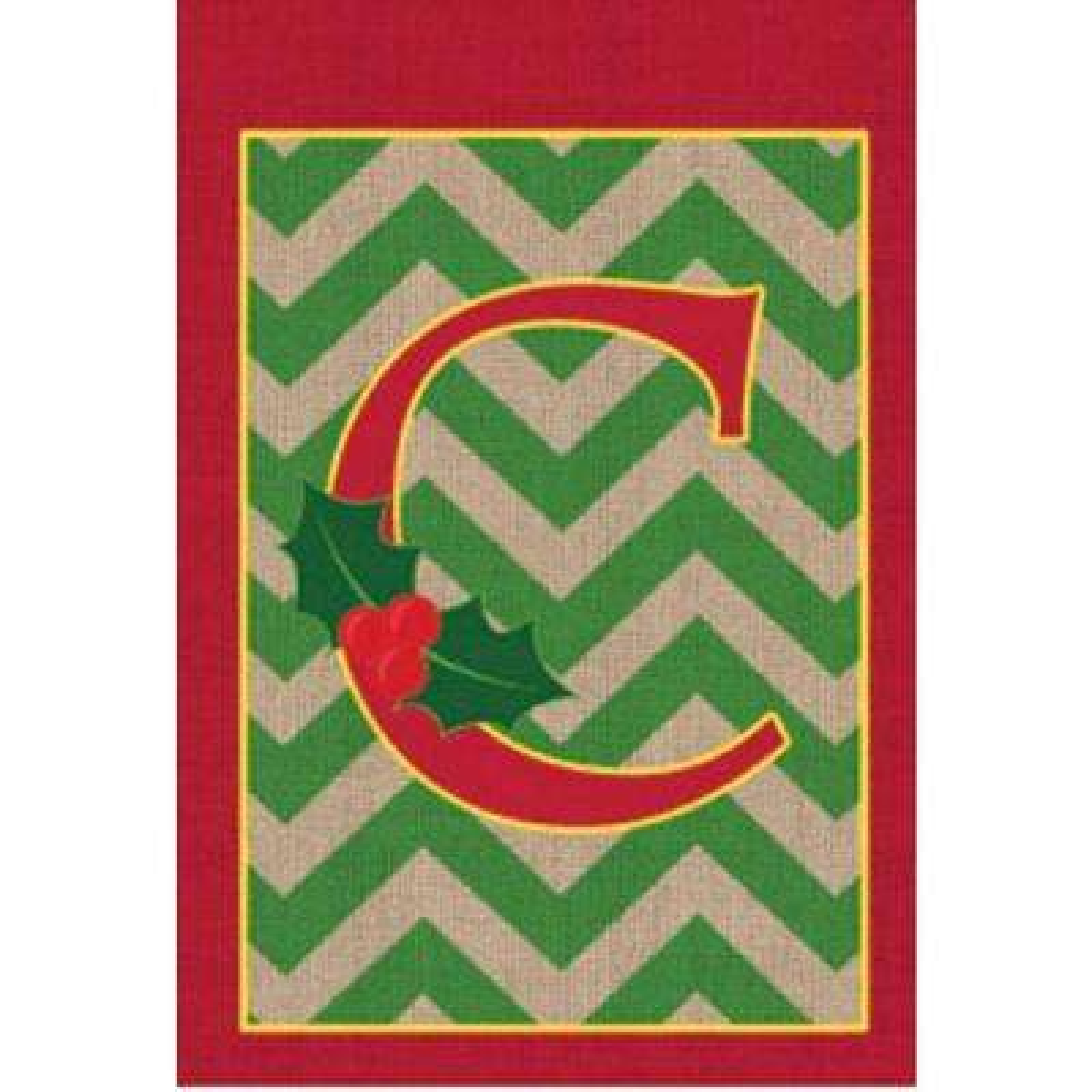 1 ft. x 1.5 ft. Monogrammed C Holly Burlap Garden Flag