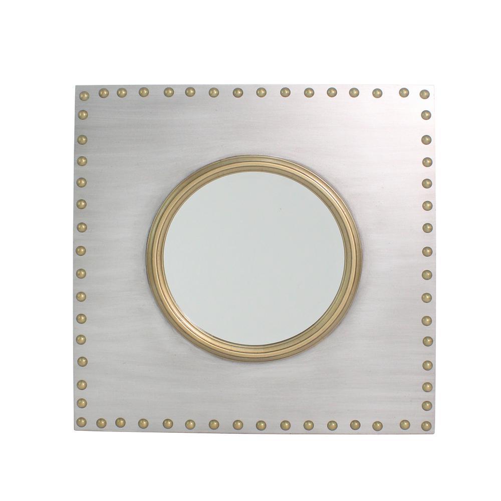 285790dec8ca Carolina Cottage Griffin Square Iron/Gold Studded Accent Mirror M3030-IRNGLD