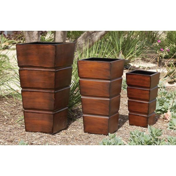 Large: 31 in., Medium: 25 in., Small: 20 in. Contemporary Brown Iron Planters