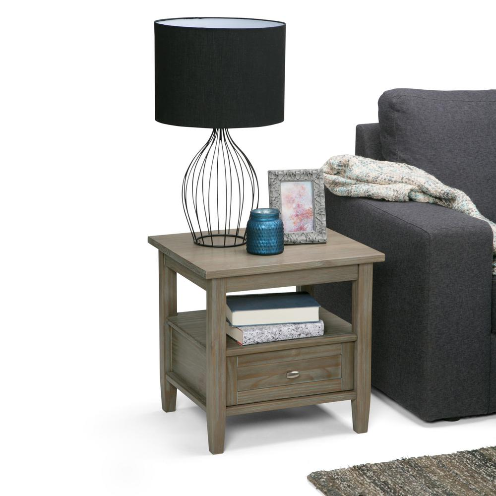 Simpli Home Warm Shaker Farmhouse Grey Storage End Table AXWSH002 FG   The  Home Depot