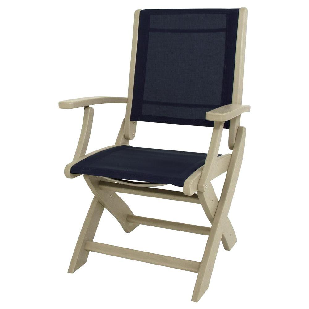 Sand/Navy Blue Sling Coastal Patio Folding Chair