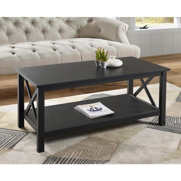 Linon Home Decor Ramsey 44 In Black Large Rectangle Wood Coffee Table With Shelf Thd02082 The Home Depot