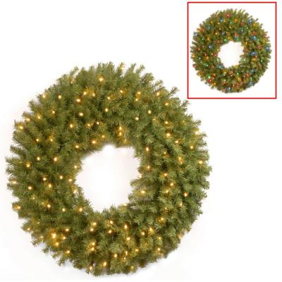 National Tree Company 36 Norwood Fir Wreath With Battery Operated Dual Color Led Lights Nf 304d 36w B1 The Home Depot
