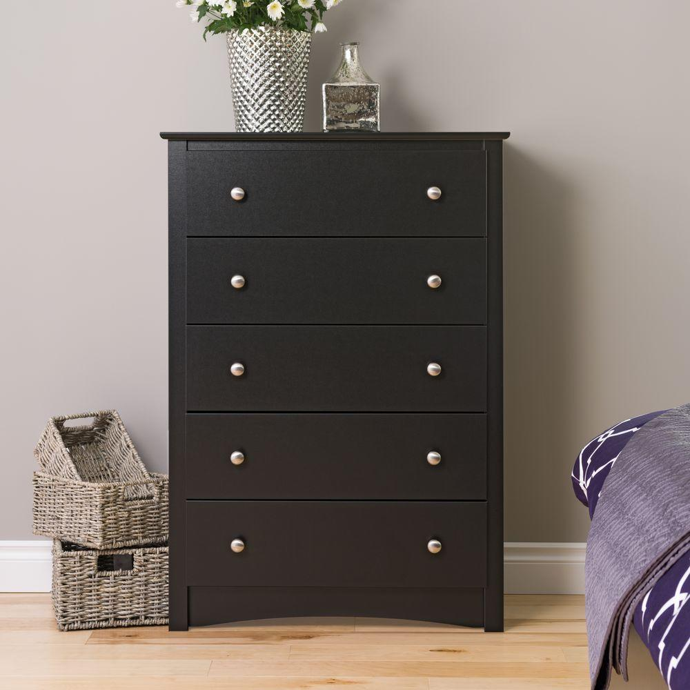 Prepac Sonoma 5 Drawer Black Chest