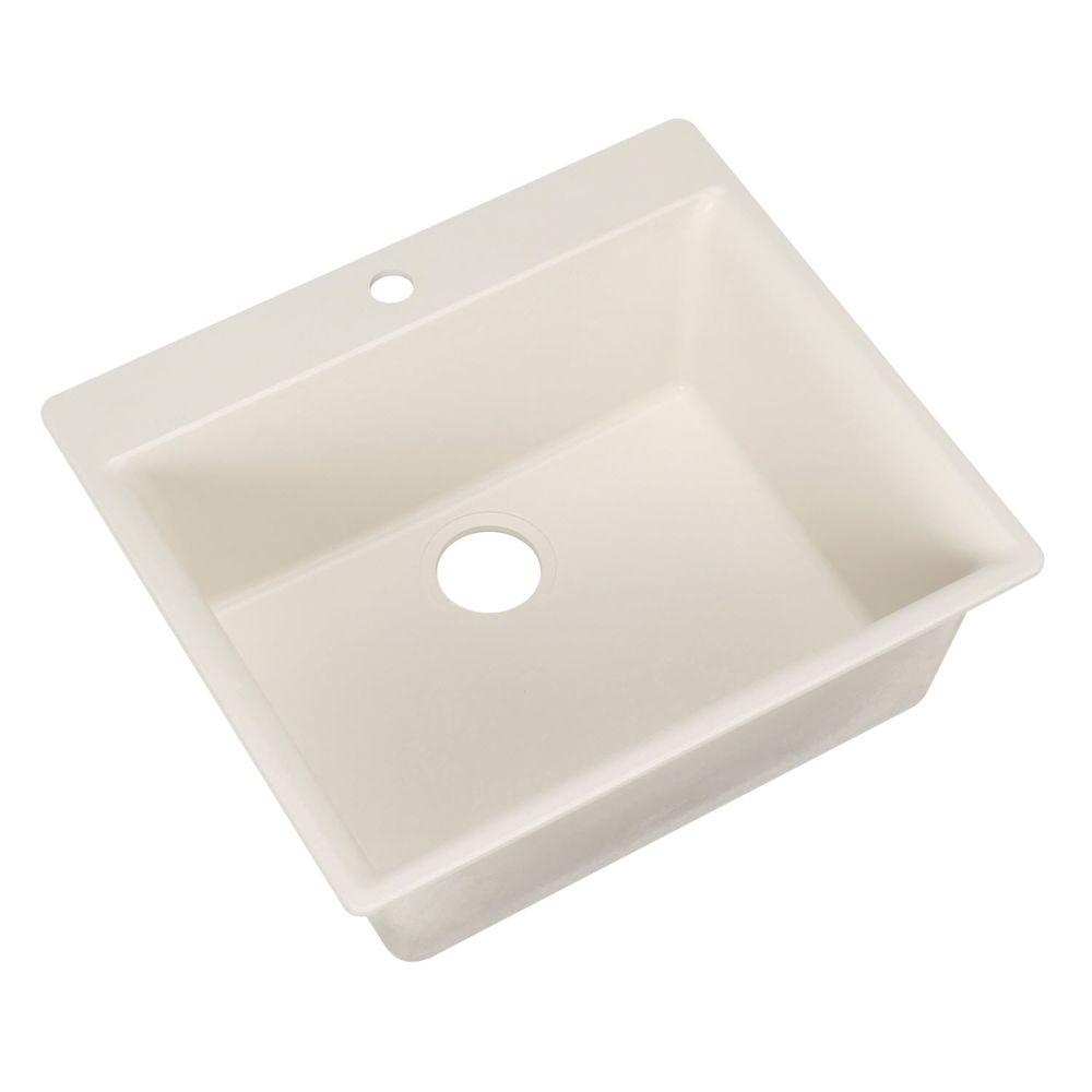 HOUZER Galaxy Series Drop-In Granite 23.625x20.875x8.688 0-hole Single Basin Kitchen Sink in Magnolia