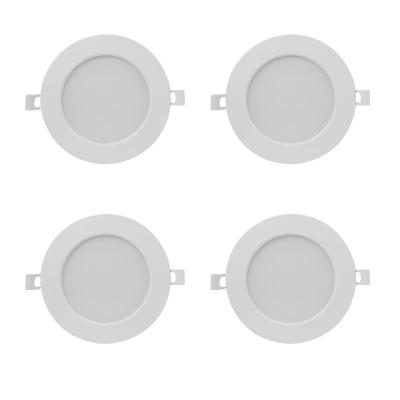 6 in. 3000K Bright White Round Flat Panel J-Box Integrated LED Recessed Trim Downlight (4-Pack)
