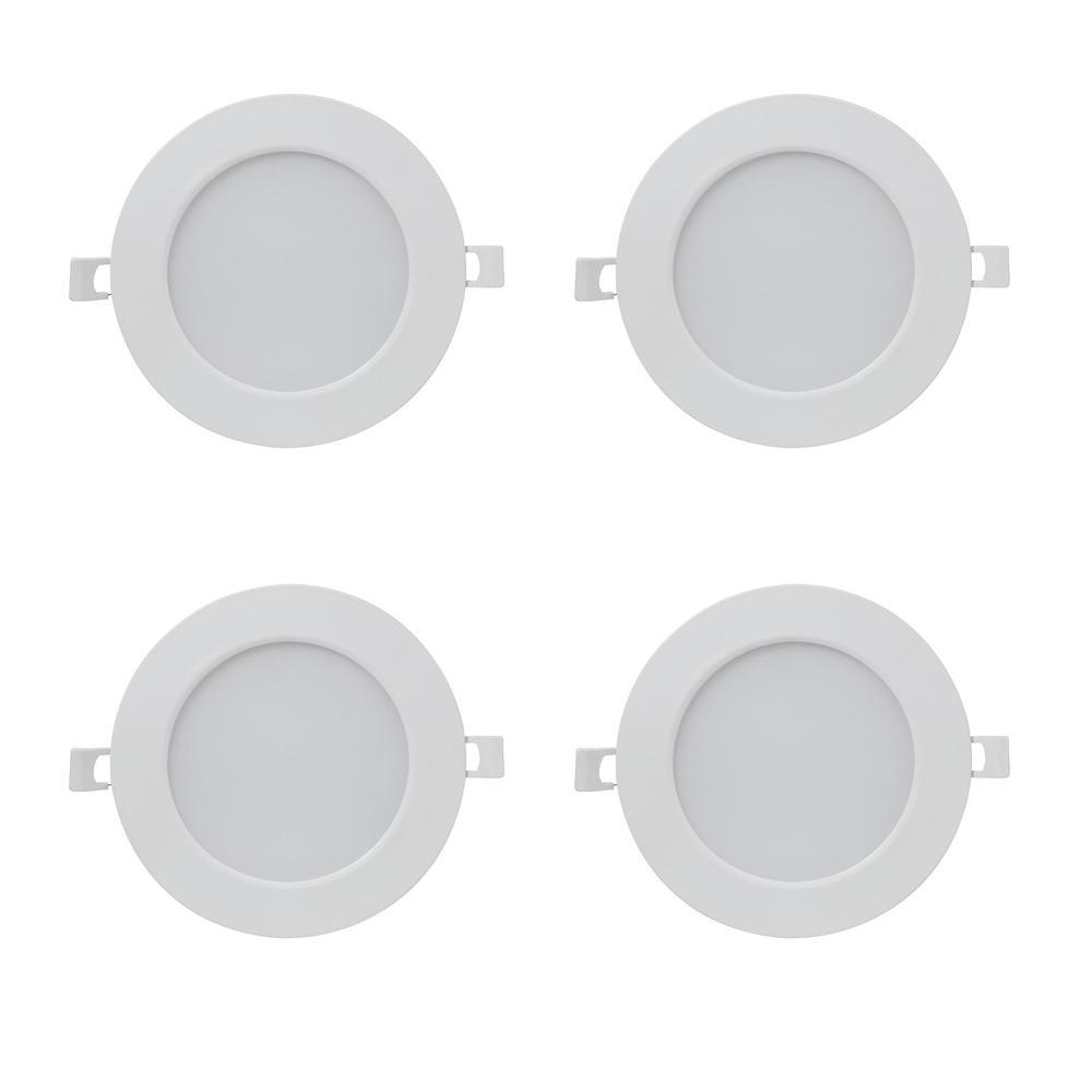 5/6 in. 3000K Bright White Round J Box Integrated LED Retrofit White Recessed Light Trim Flat Panel Downlight (4-Pack)