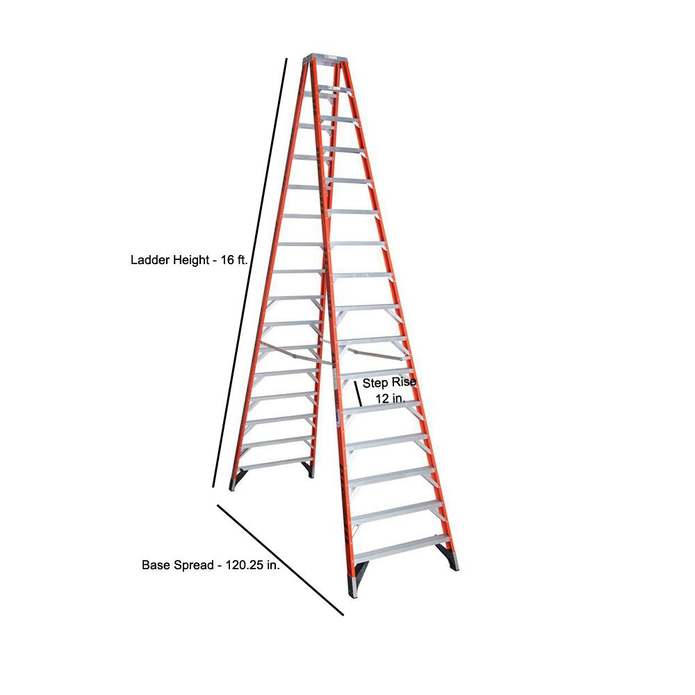 Werner 16 Ft Fiberglass Twin Step Ladder With 300 Lb Load Capacity Type Ia Duty Rating T7416 The Home Depot