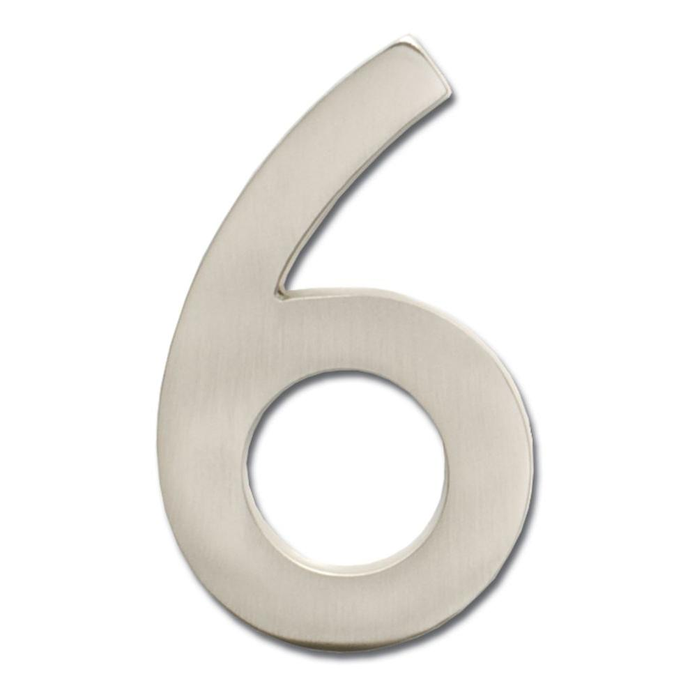 5 in. Satin Nickel Floating House Number 6