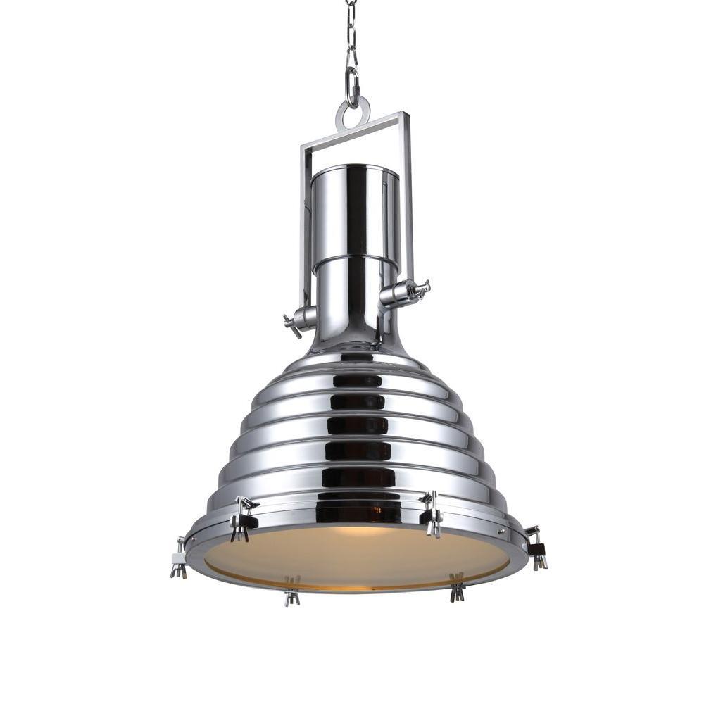 Industrial 1-Light Chrome Pendant Lamp