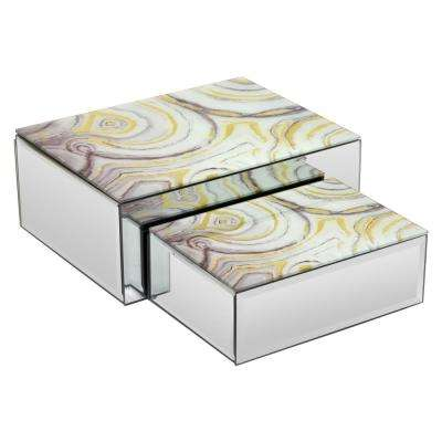 10 in. x 7.75 in. x 4 in. Multicolored Glass Mirrored Box (Set of 2)