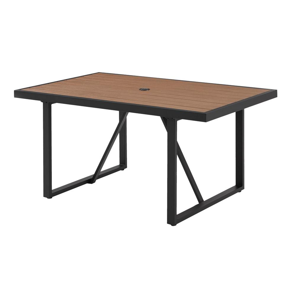 Hampton Bay West Park Aluminum Outdoor Patio Dining Table 741 0530 001 The Home Depot